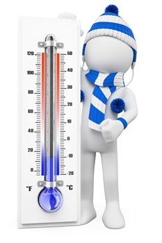 3d man with thermometer in cold weather_thumb